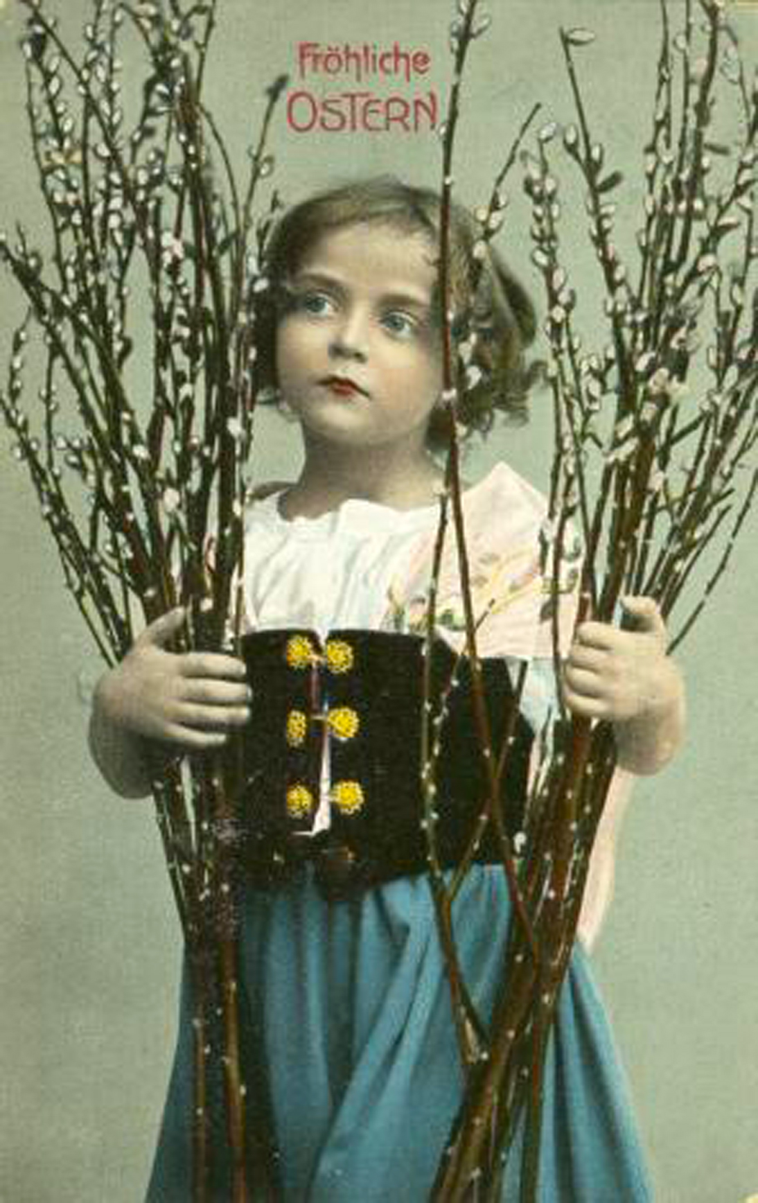 German girl holding pussy willows Osterpostkarte
