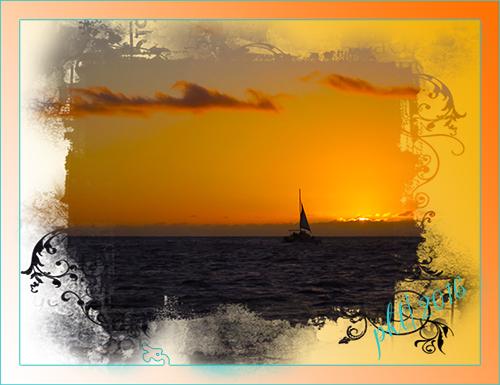 web sunset on water Kauai March 2016 frame sig IMG_9103